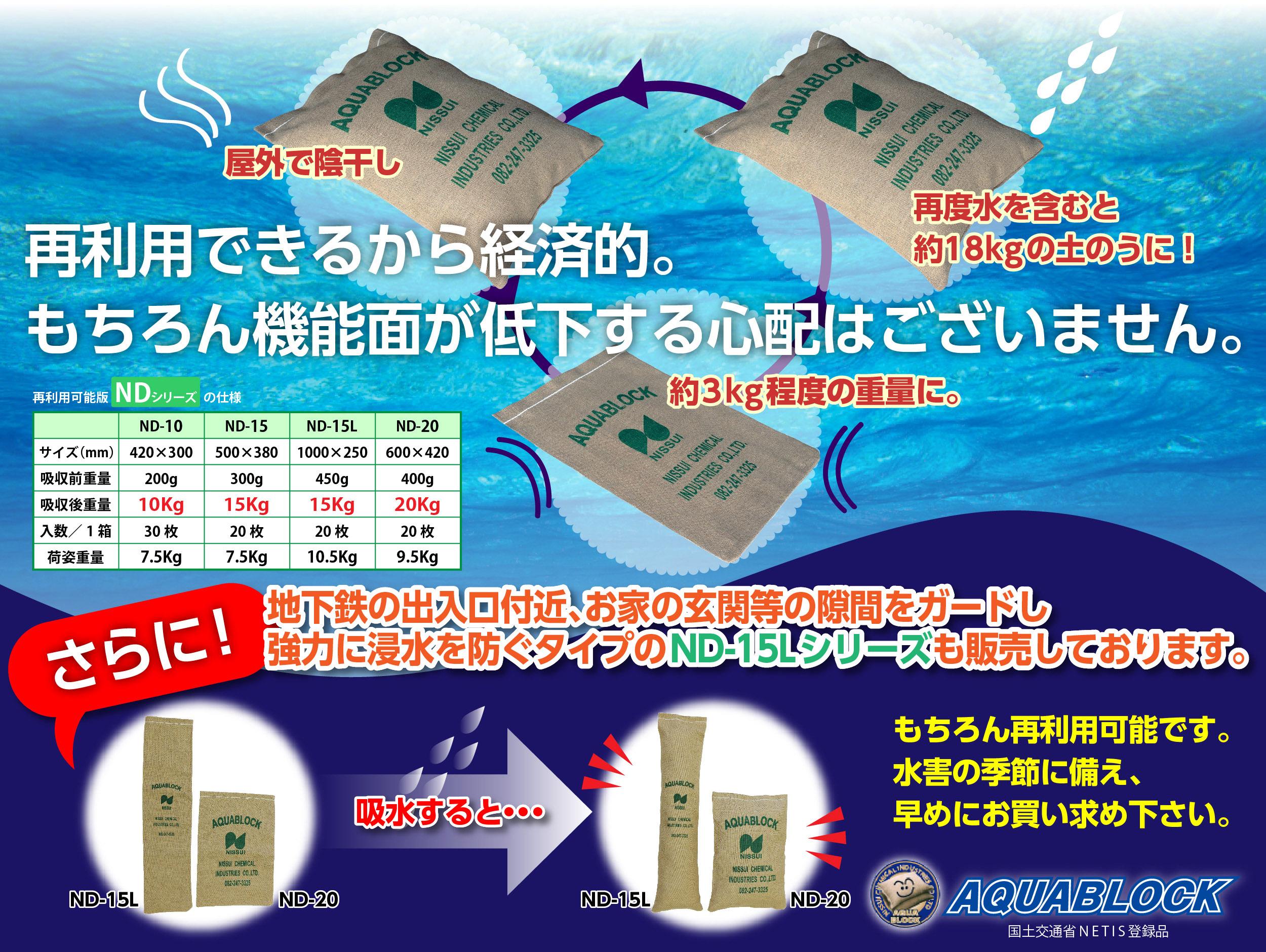 再利用できる吸水性土嚢(土のう)アクアブロック