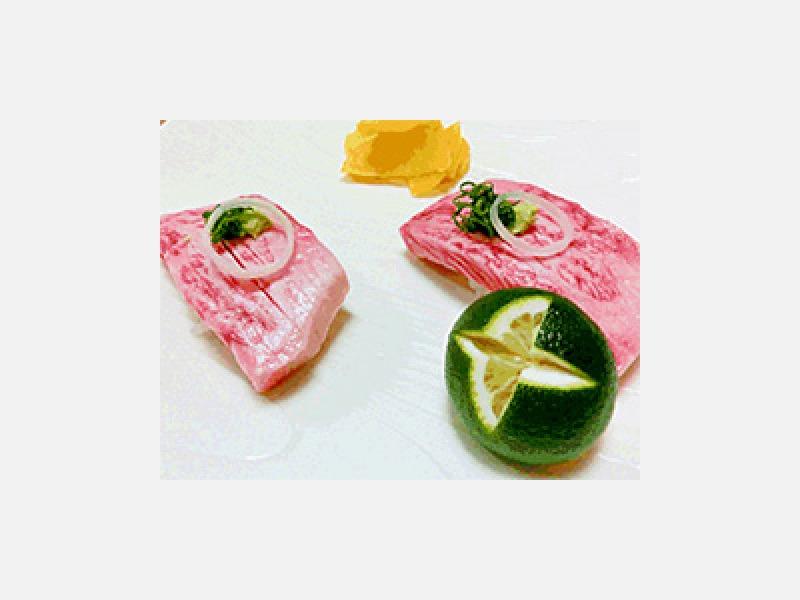 伊予牛の握り1300円(税別)