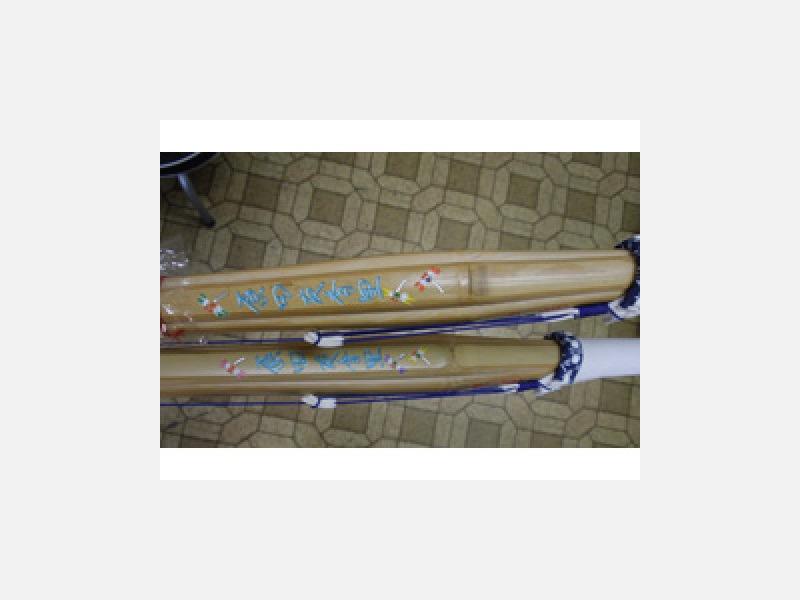 竹刀にネームとトンボ柄をサービスで入れてます。