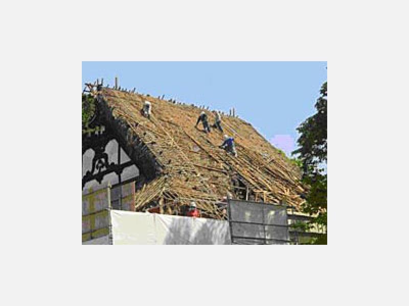 寺院の茅葺屋根改修工事例