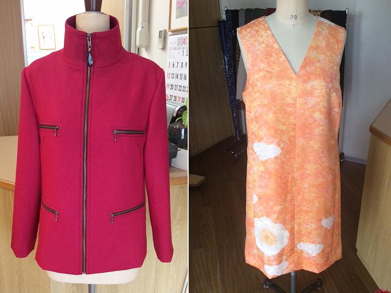 誂えの赤いジャケットと着物からのジャンパースカート