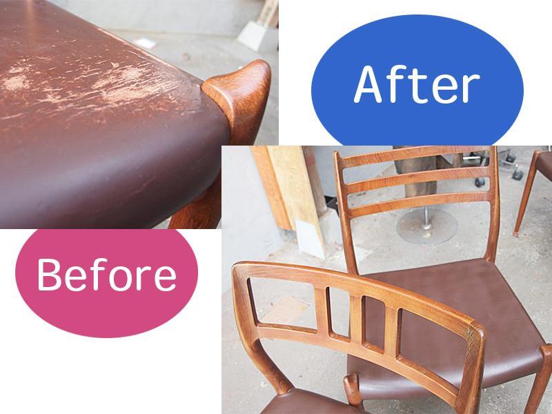 椅子座面のスレ傷&色落ち補修