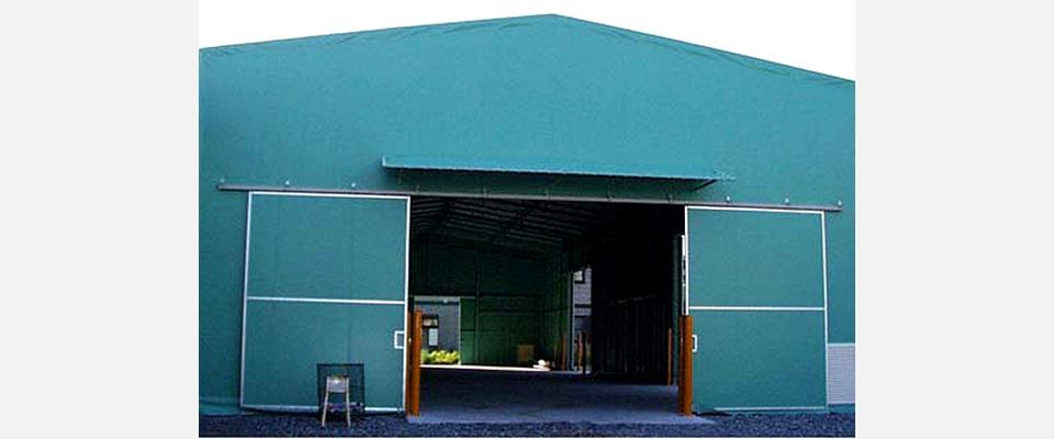 テント倉庫 ガードポール吸気ガラリ付(オプション)