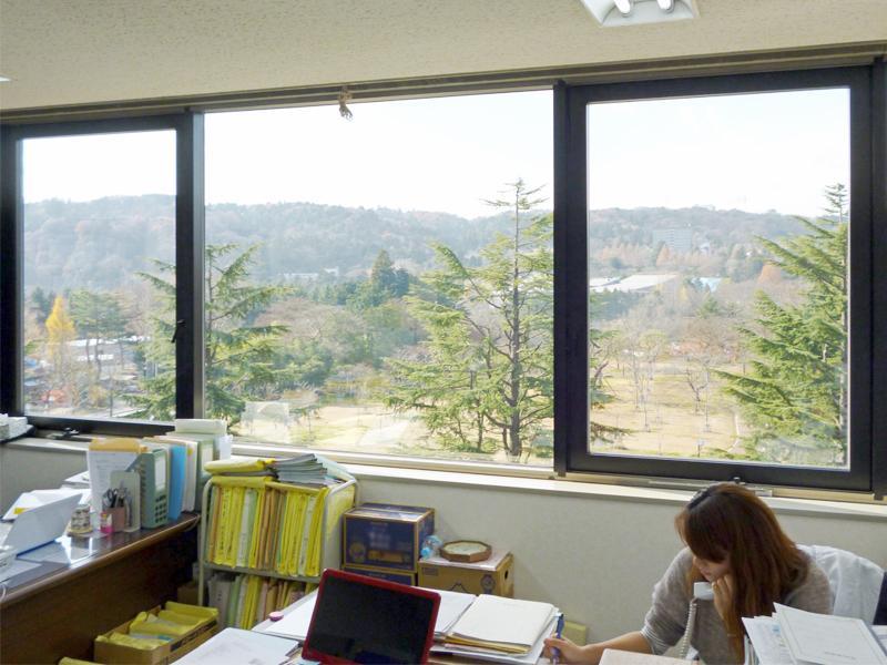 窓から見える西公園、青葉山の風景は最高です!