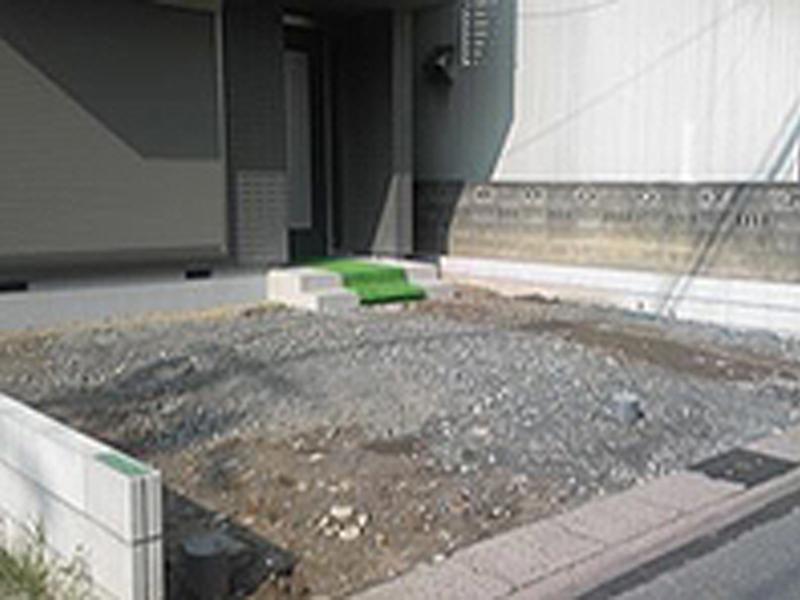 自宅前の駐車スペースの施工 Before