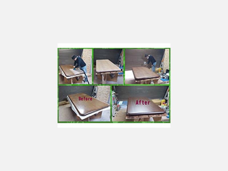 テーブル天板 ウレタンクリア再塗装/川崎市家具修理