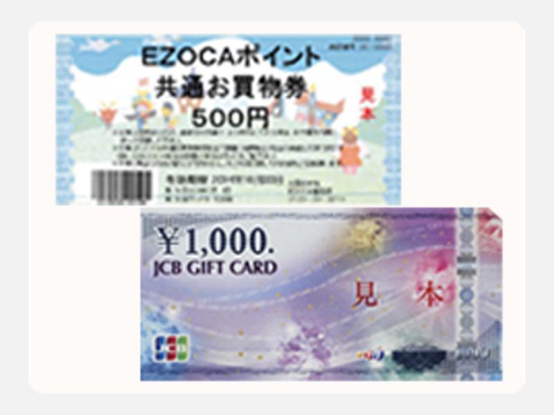 EZOCA共通お買物券、JCBギフト券が使えます!