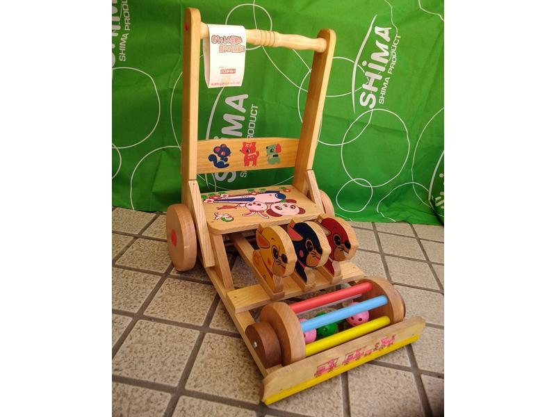 自然のぬくもりを赤ちゃんに 懐かし木製押し車